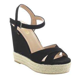 BONNIBEL FK36 Women's Platform Wedge High Heel Espadrilles Ankle Strap Sandals