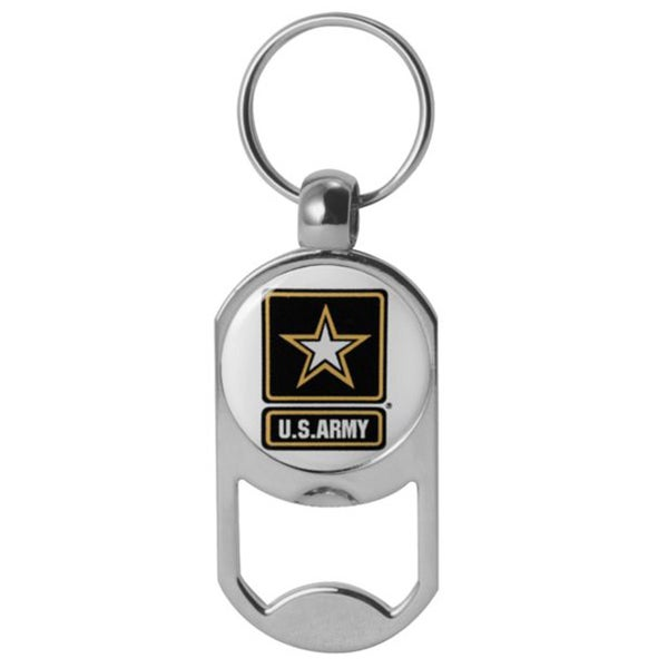 US Army Star Logo Dog Tag Bottle Opener Military Keychain 1-1/8 Inch by 2 Inches
