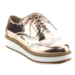 BONNIBEL FK37 Women's Classical Platform Wedge Heel Wing Tip Lace Up Oxfords