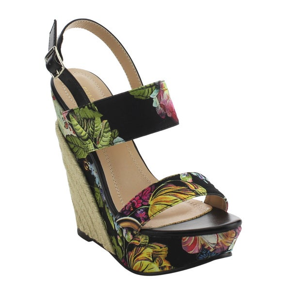 2591468188 CHASE & CHLOE EH85 Women's Floral Printing Platform Espadrille  Wedge Sandals