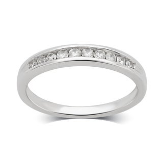 Divina 14K White Gold 1/4ct TDW Diamond Wedding Band.(H-I/I2-I3)