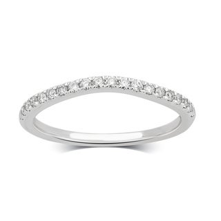Divina 14K White Gold 1/5ct TDW Diamond Contour Wedding Band.(H-I/I2-I3)