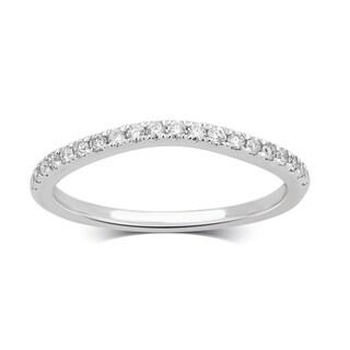 Divina 14K White Gold 1/5ct TDW Diamond Contour Wedding Band.(H-I/I2-I3)