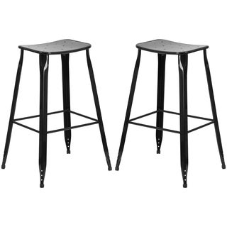 Black Galvanized Steel 30-inch Bar Stool