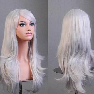 Anime COS Synthetic Silver White Long Curly Hair Wig