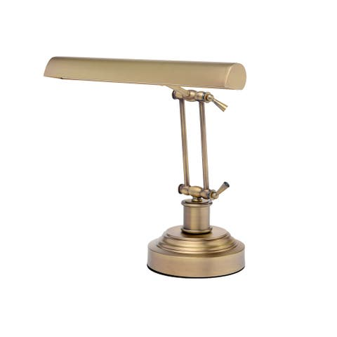 """14"""" LED Piano Desk Lamp with Dimmer - Antique Brass"""