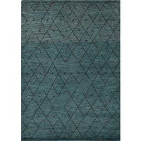 eCarpetGallery Hand-knotted Arlequin Green/Grey Wool Rug - 7'6 x 7'10