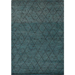 eCarpetGallery Hand-knotted Arlequin Green/Grey Wool Rug (7'6 x 7'10)