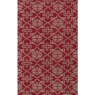eCarpetGallery La Seda Red Wool and Silk Hand-knotted Rug (4'11 x 7'10)