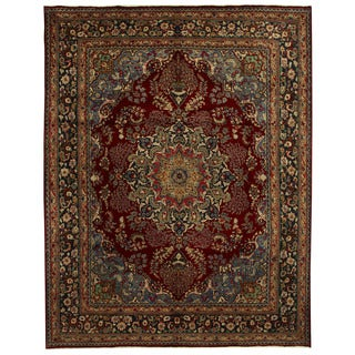Herat Oriental Persian Hand-knotted Mashad Wool Rug (10' x 12'10)