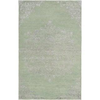 eCarpetGallery La Seda Green Wool/Art Silk Hand-Knotted Rug (5' x 8')
