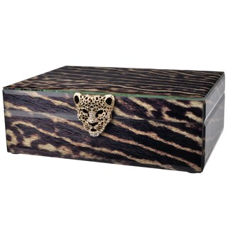 Safari Multicolored Wood/Metal/Glass 10-inch x 7.5-inch x 3.5-inch Cheetah Box