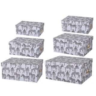 Albany Zebra Print Paper Storage Boxes (Set of 6)