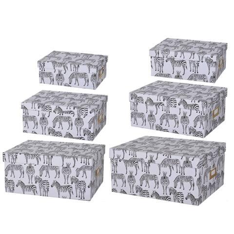 Albany Zebra Print Paper Storage Boxes (Set of 6)