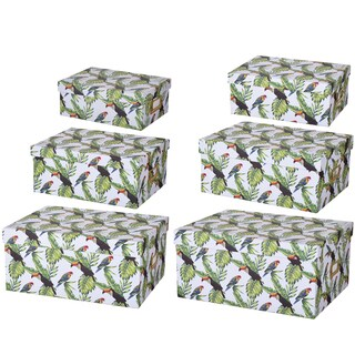 Albany Storage Boxes with Tucan Motif (Set of 6)