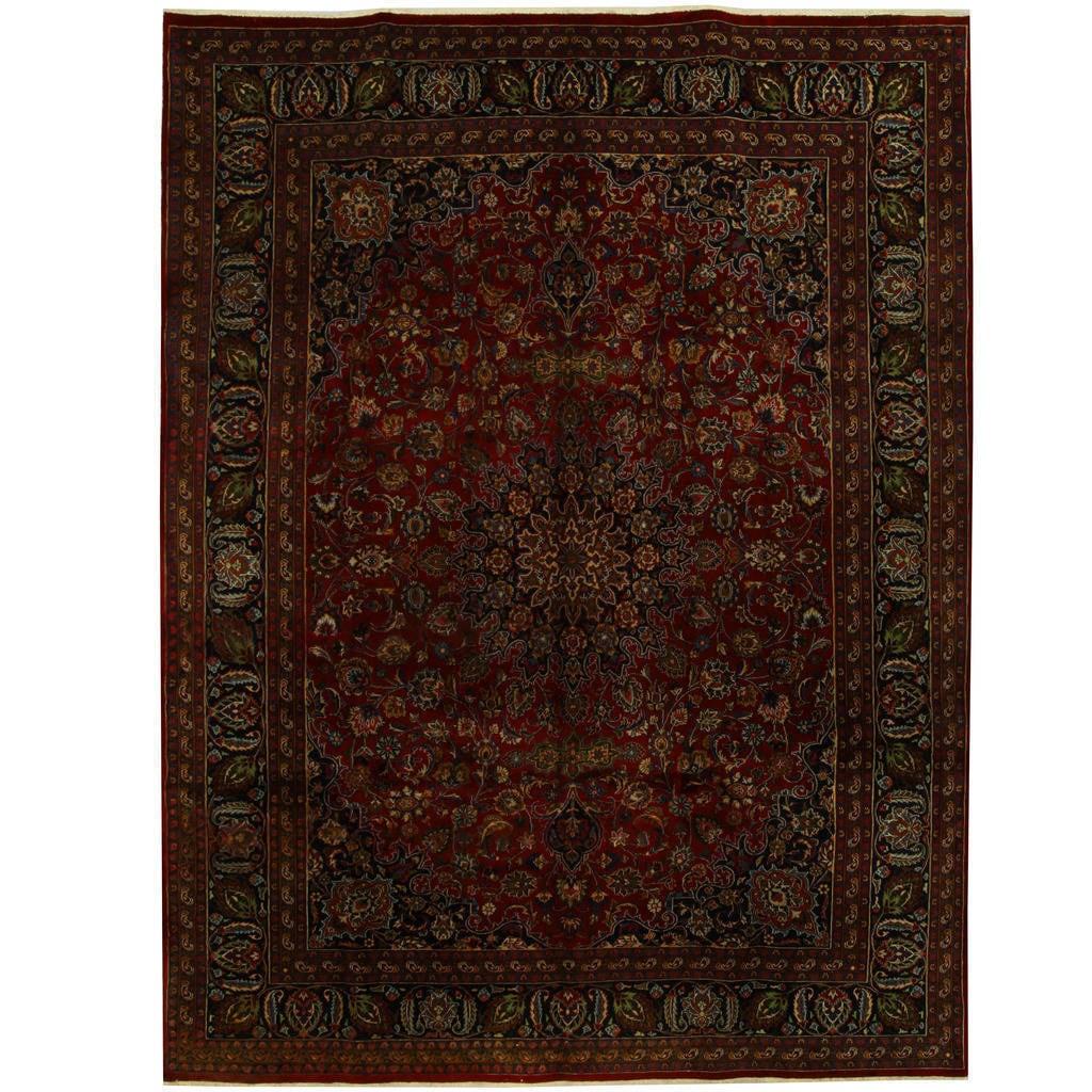 Handmade Herat Oriental Persian Mashad Wool Rug (Iran) - 97 x 13 (Handmade Mashad Wool Rug)