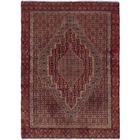 eCarpetGallery Senneh Blue/ Red Wool Hand-knotted Rug - 3'7 x 5'1