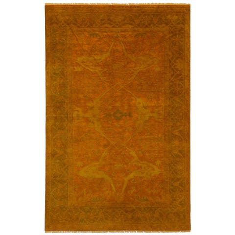 eCarpetGallery Color Transition Orange Wool Hand-knotted Rug - 5' x 8'
