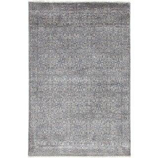 eCarpetGallery Jules Ushak Grey Art Silk Hand-knotted Rug (3'11 x 5'11)