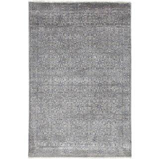 eCarpetGallery Jules Ushak Grey Art Silk Hand-knotted Rug - 3'11 x 5'11
