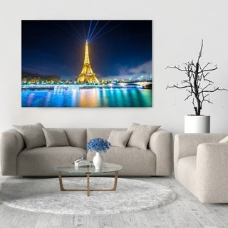 Noir Gallery Eiffel Tower and the Seine at Night, in Paris, France Mounted Fine Art Photo Print.