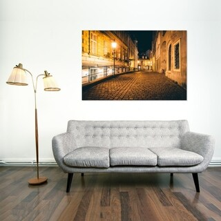 Noir Gallery A Narrow Cobblestone Street at Night, in Vienna, Austria Mounted Fine Art Photo Print.