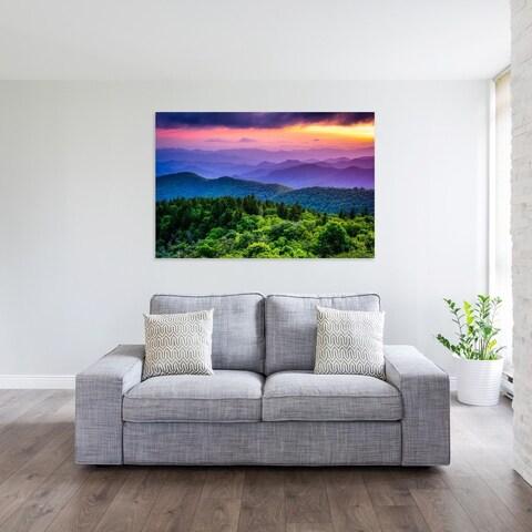 Noir Gallery Colorful Blue Ridge Parkway Mountain Sunset in North Carolina Photo Print on Metal.