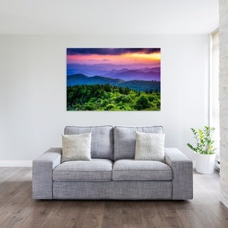 Noir Gallery Colorful Blue Ridge Parkway Mountain Sunset in North Carolina Photo Print on Metal.