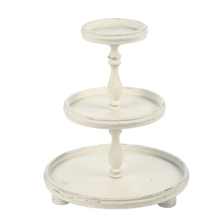 Antique-white Wooden 3-tier Display Stand