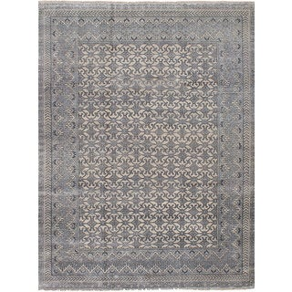 eCarpetGallery Jules Ushak Grey Rayon from Bamboo Silk Hand-Knotted Rug - 8'6 x 11'9