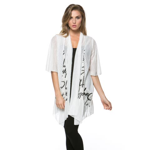 High Secret Women's Black and White Print Loose Fit Open Front Cardigan