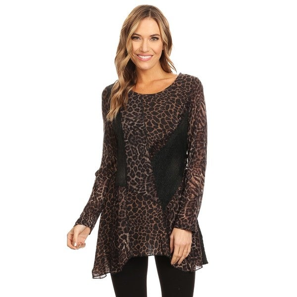Shop High Secret Women s Animal Print Patchwork Round Neck Tunic Top ... f8410f908