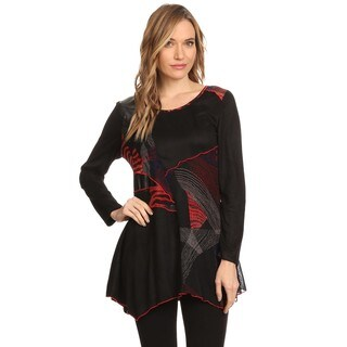 High Secret Women's Leather and Suede Faux Patchwork Round Neck Tunic Top