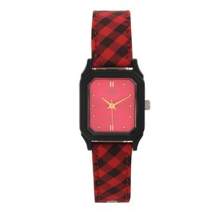 Casio Women's LQ-142LB-4A Red Leather Watch