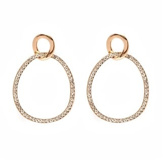 Gold Plated Gold and White Crystal Circle Drop Earrings