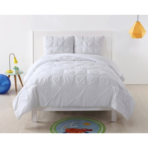 My World Pinch Pleat Solid 3-piece Duvet Set