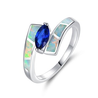 Gold Plated Marquise-Cut Blue Spinel Fire Opal Bypass Ring