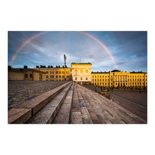 Noir Gallery Rainbow Over Senate Square at Sunset, in Helsinki, Finland Mounted Fine Art Photo Print.