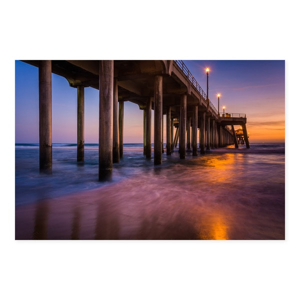 Noir Gallery The Huntington Beach Pier at Sunset in Southern California Mounted Fine Art Photo Print.