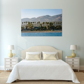 Noir Gallery Palm Trees and Mountains in Santa Barbara, California Photo Print on Metal.