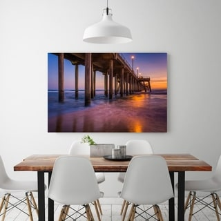 Noir Gallery The Huntington Beach Pier at Sunset in Southern California Photo Print on Metal.