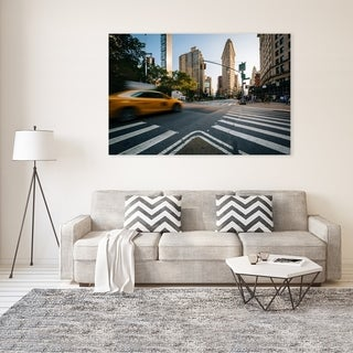 Noir Gallery Taxi on Broadway and the Flatiron Building, in Manhattan, New York City Mounted Fine Art Photo Print.