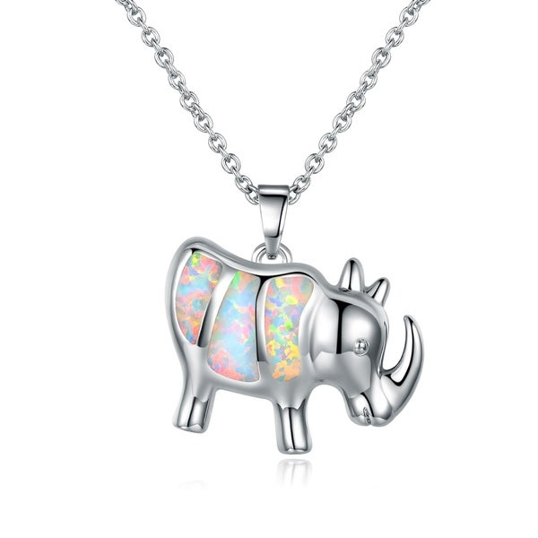 Shop Gold Plated White Fire Opal Rhino Pendant Necklace
