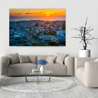 Noir Gallery View of the Sunset District and Pacific Ocean, San Fransisco, California Mounted Fine Art Photo Print.