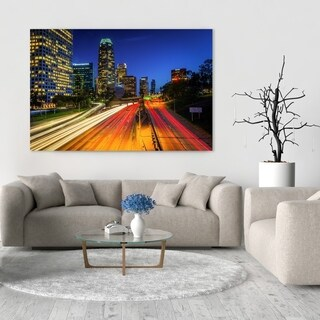 Noir Gallery The Downtown Los Angeles Skyline at Night Photo Print on Metal.