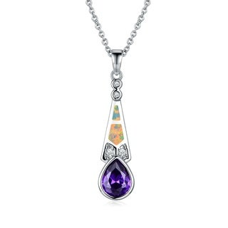 Gold Plated Fire Opal & Amethyst Quartz Pendant Necklace