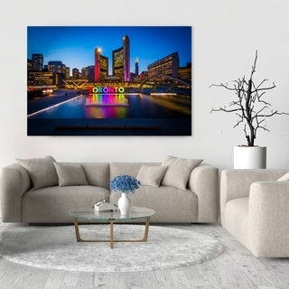 Noir Gallery Nathan Phillips Square and Toronto Sign at Night in Downtown Toronto Photo Print on Metal.