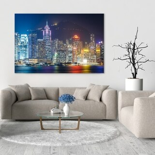 Noir Gallery The Hong Kong Skyline at Night Mounted Fine Art Photo Print.