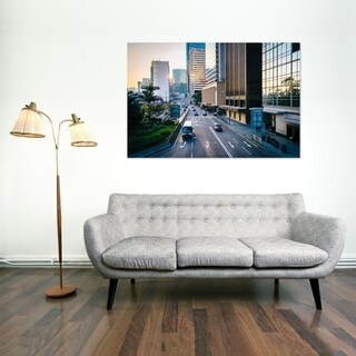 Noir Gallery Road and Modern Skyscrapers at Sunrise in Central Hong Kong Mounted Fine Art Photo Print.