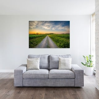 Noir Gallery Sunset Over Rural Farm Fields and Dirt Road in Pennsylvania Photo Print on Metal.